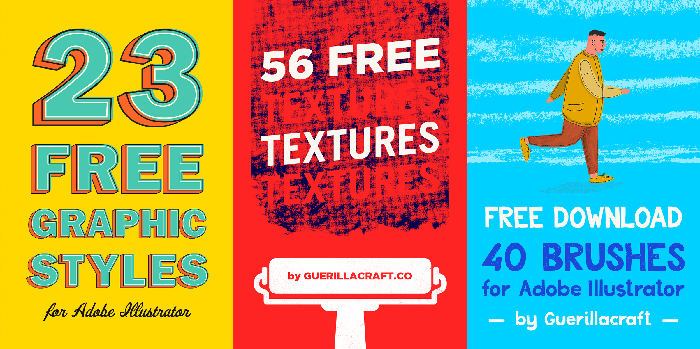 FREE DOWNLOAD of 23 Graphic styles, 56 textures and 41 brushes for Adobe Illustrator. Guerillacraft produces high-quality design resources and now offers the download of samples from premium products for FREE. With one click you will get access to Big Free Design Bundle containing 56 textures in EPS and PNG format, 41 brushes for Adobe Illustrator and 23 great graphics styles for Adobe Illustrator. Get them all without spending a cent! Just click on image and download them for FREE