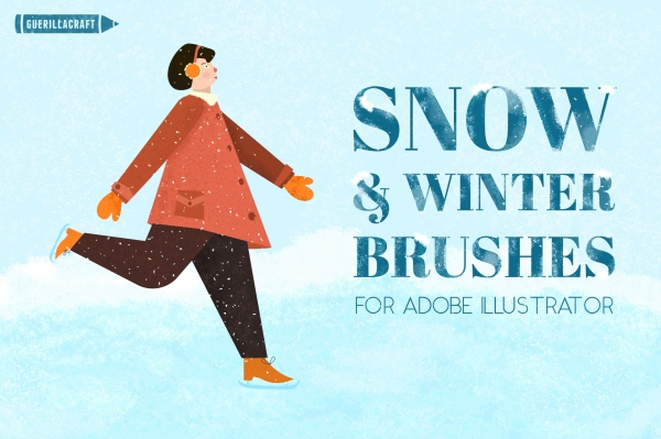 Snow and Winter Brushes for Adobe Illustrator contains 30 powerful brushes for your winter projects.