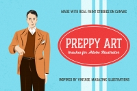 Preppy Art Brushes contains 59 brushes for Adobe Illustrator made with real paint and canvas.