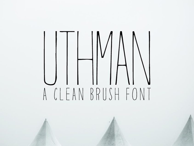 Uthman is a free brush clean thin typeface