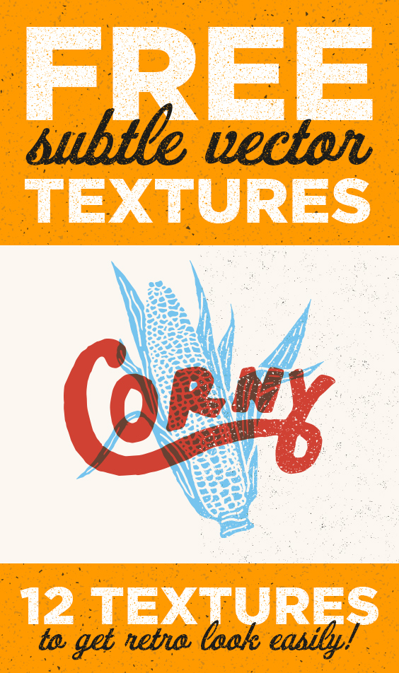 12 Free Subtle Vector Textures helps you to get retro effect easily! Great for adding textures in Adobe Photoshop or Adobe Illustrator. With transparent background and scalable without losing image quality. EPS format.