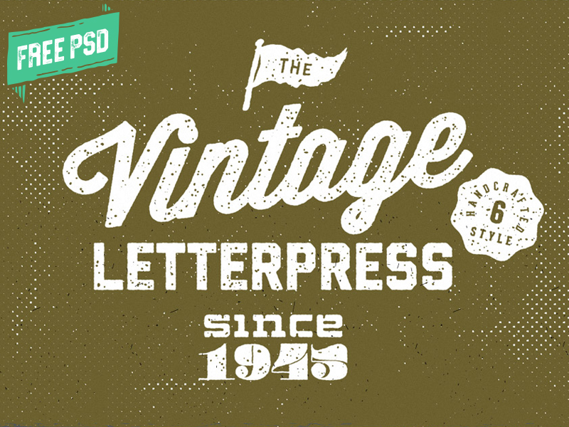 Vintage Letterpress PSD layer styles. Just place your typography or graphics and save. Download for free!