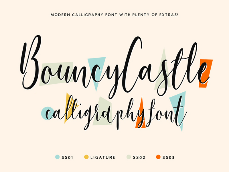 Say hello to Bouncy Castle Font Demo, a trial version of playful, handwritten, and modern calligraphy font family. This family comes with 4 sets of alternative letter styles to effortlessly switch between for maximum creativity and authenticity. It appears incredible within wedding and event invitations, printouts, logos and branding, apparel, and everything in between. Also, no special software required to access letter alternatives! The calligraphy font set has been split into 4 individual fonts. As a result, making life a whole lot easier for you to switch between all of the wonderful letter combinations to truly bring your work to life! Thanks to Tom Chalky who has generously sharing this free demo with all the complete features! However, this demo pack only comes with Personal Use license.