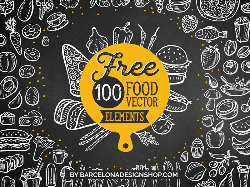 This free awesome bundle contains 100 hand drawn graphic illustrations: vegetables, fruits, desserts, nuts, berries, kitchen utensils, drinks, fast food, seafood. You will get 100 unique food vector elements for Adobe Illustrator.