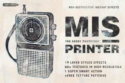 Misprinter is a great tool for Adobe Photoshop that lets you make astonishing screen print graphics instantly!