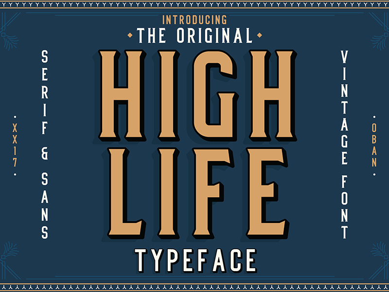 High Life is a stylish and timeless font from Oban Design Studios, borrowing from the Art Deco movement, High Life is reminiscent of a bygone time, when class and sophistication were prized above all else. High Life has both a serif & sans serif version and when combined with a numbers set and a variety of special characters, High Life is perfect for bold statement pieces, arresting titles and tasteful vintage designs. This is a lite version of the full typeface which includes the serif character set.