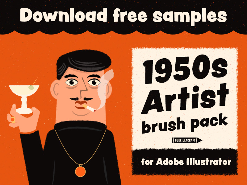 Free brushes for Adobe Illustrator made by Guerillacraft. Part of the premium 1950s Artist Brush Pack for Adobe Illustrator