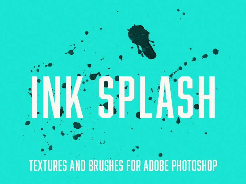 Free Pen Fountain Ink Splash Brushes and Textures for Adobe Photoshop